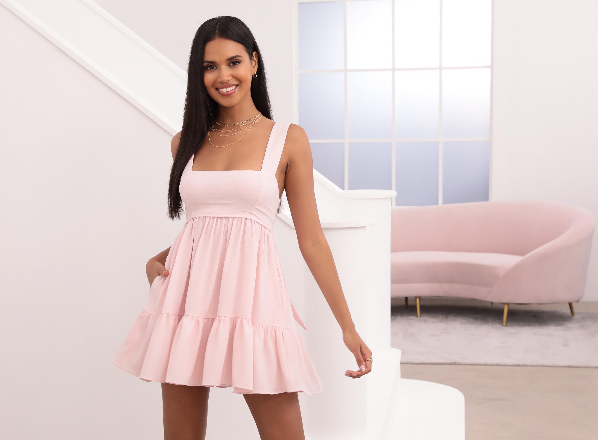 Aurora Square Neckline Dress in Pink Pinstripes