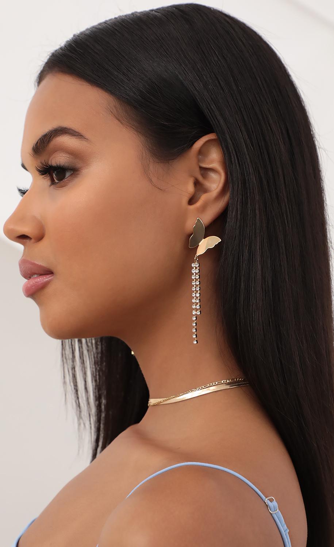Long Gold Butterfly Earrings