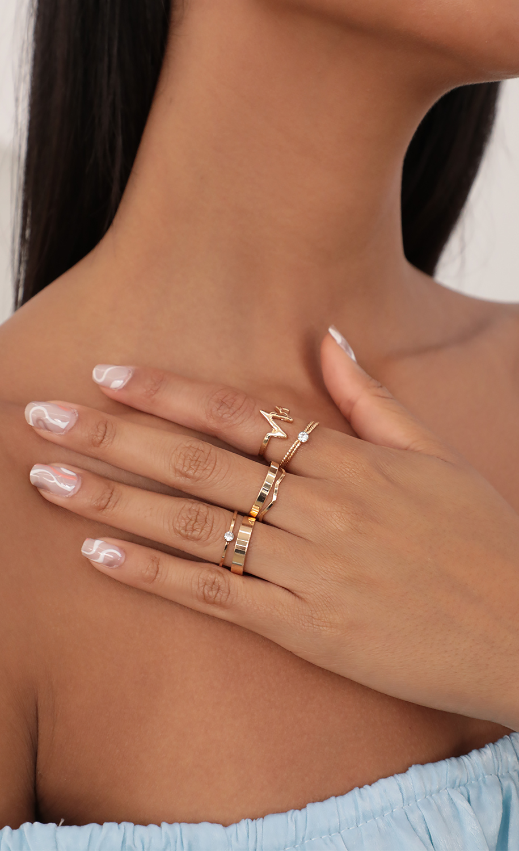 Minimal Bands Ring Set in Gold