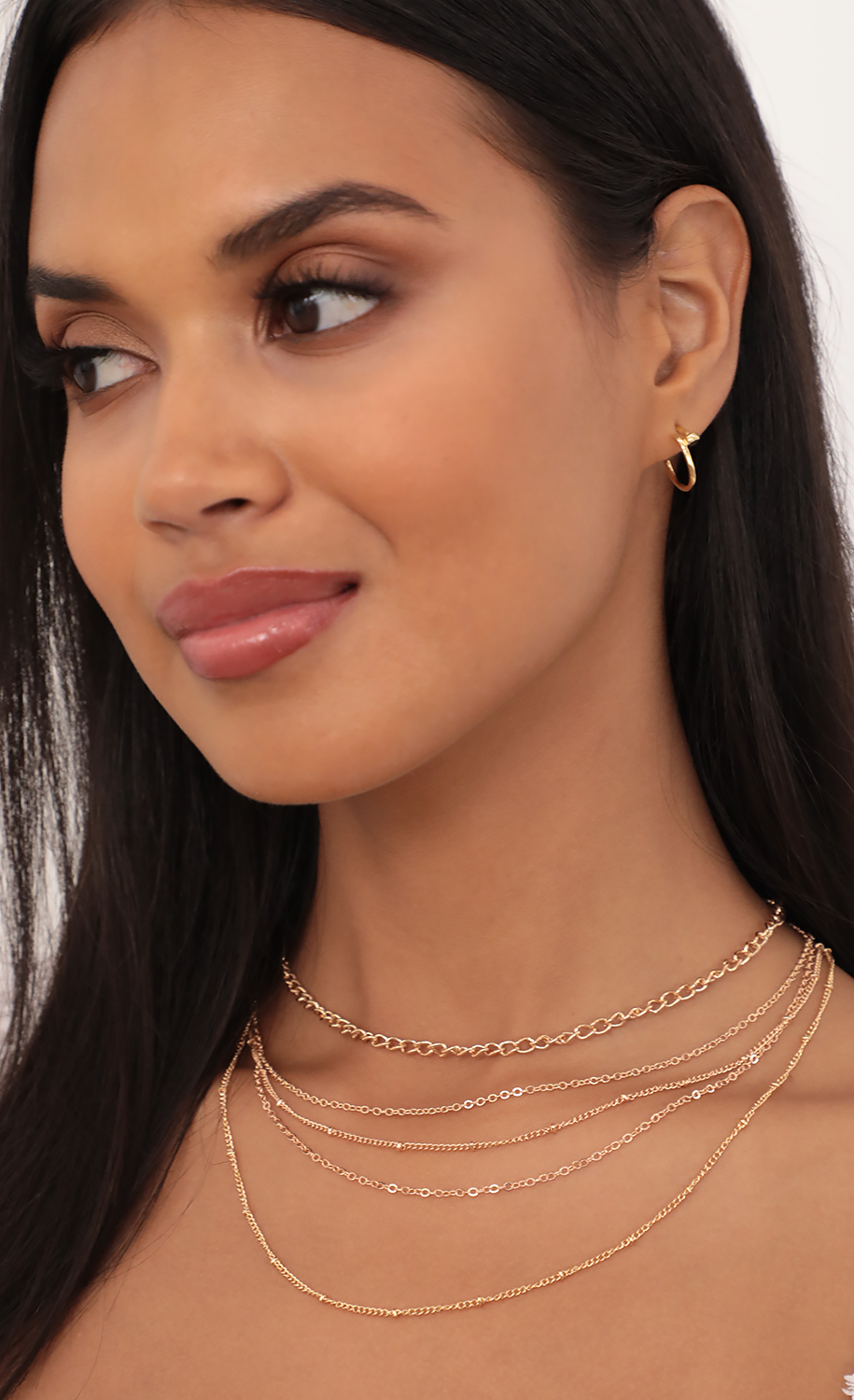 Layered Chain Necklace Set in Gold