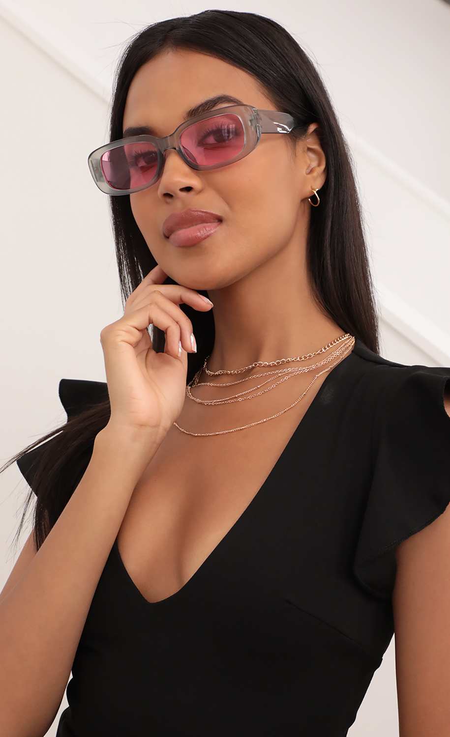 Beverly Rectangular Retro Sunglasses in Clear Gray and Pink