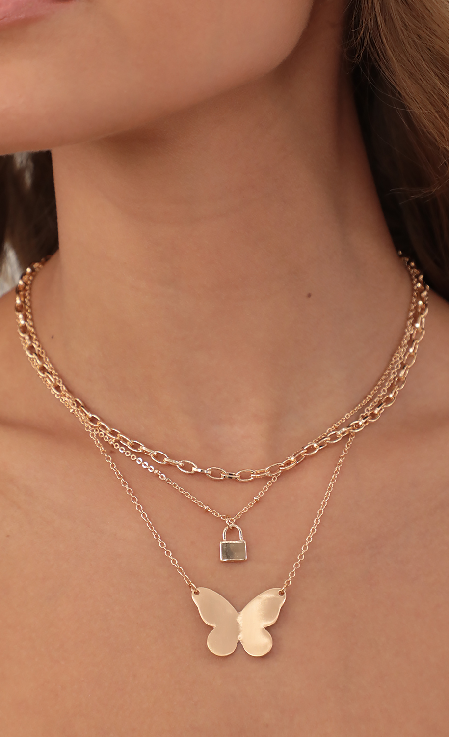 Butterfly Goldie Lock Layered Necklace