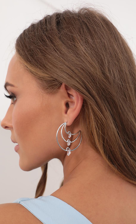 Moonlight Jeweled Earrings in Silver