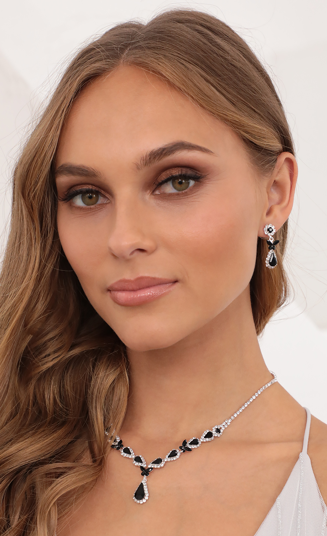 Black Jade Crystal Necklace Set