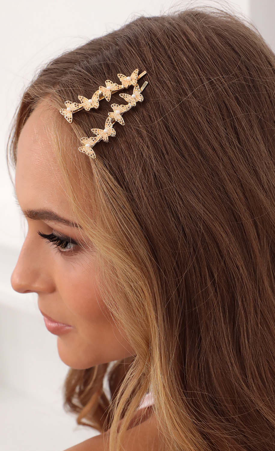 Lets Fly Away Hair Clips Set in Gold