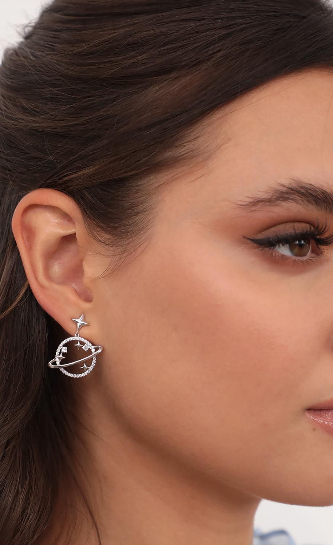 Saturn Crystal Drop Earrings in Silver