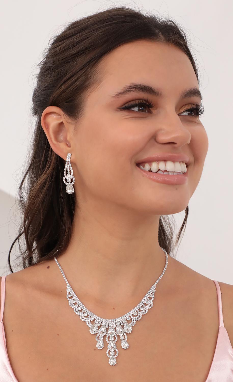 Nyla Crystal Teardrop Necklace in Silver