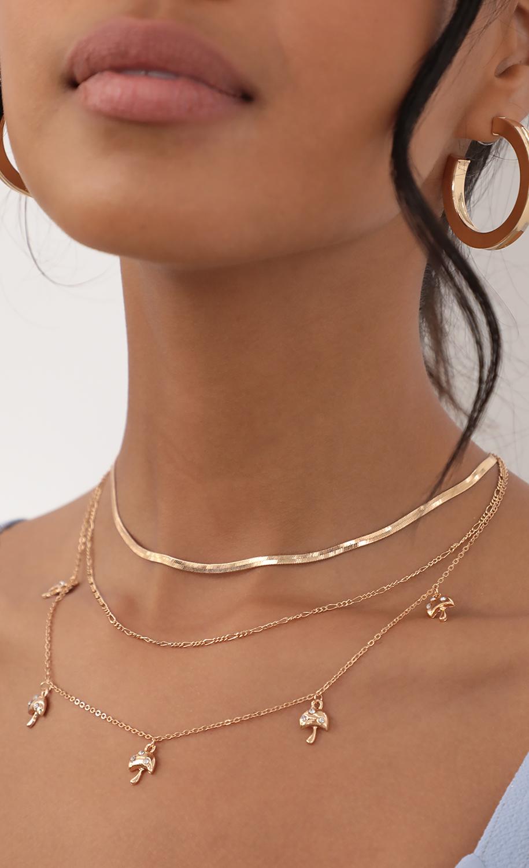 Mushroom Princess Gold Layered Necklace