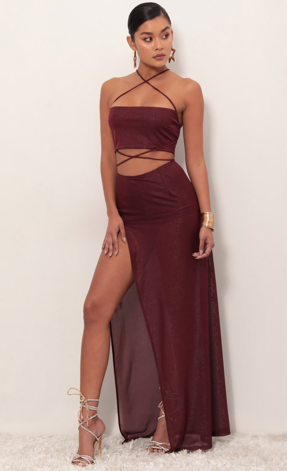 Boho Shimmer Mesh Maxi Set in Burgundy