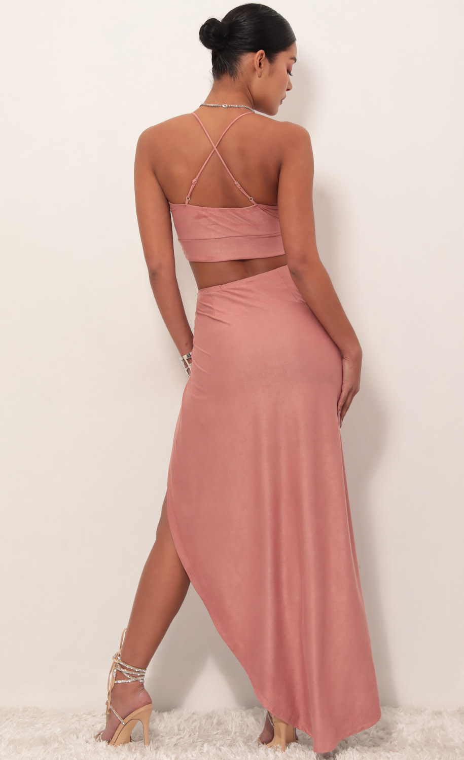 Sicily Suede Luxe Maxi Set in Mauve