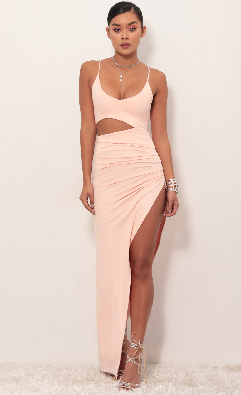 Ella Suede Cutout Maxi Dress in Light Coral