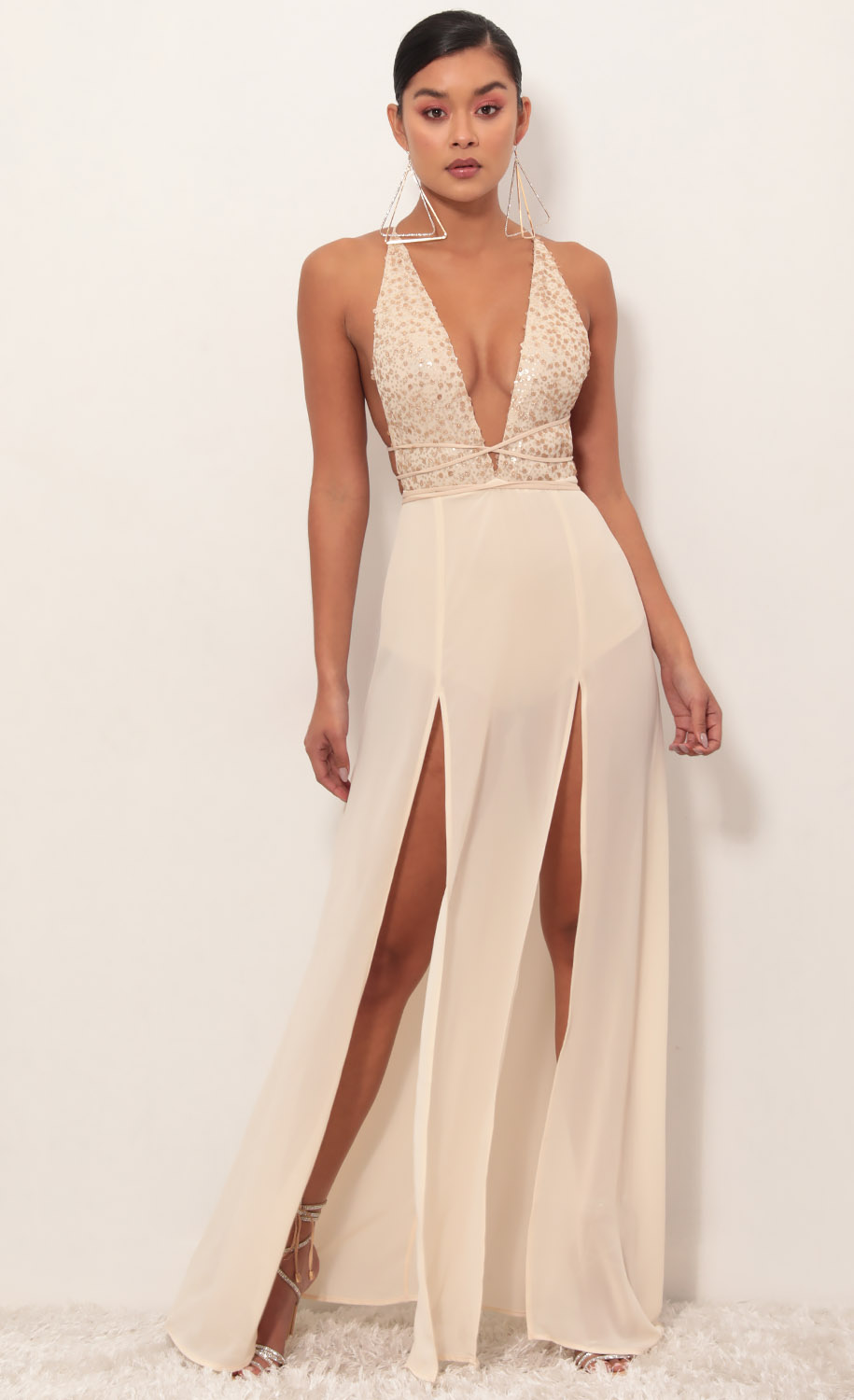 Flashing Lights Maxi Dress in Champagne