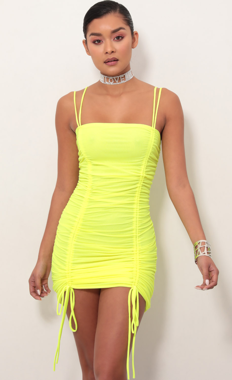 Double Trouble Ruched Dress in Neon Yellow