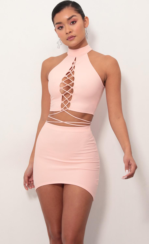 Kali Halter Lace-Up Dress Set In Coral