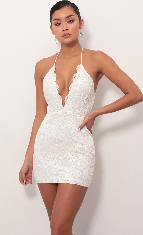 Daniela Plunge Lace Dress in Ivory