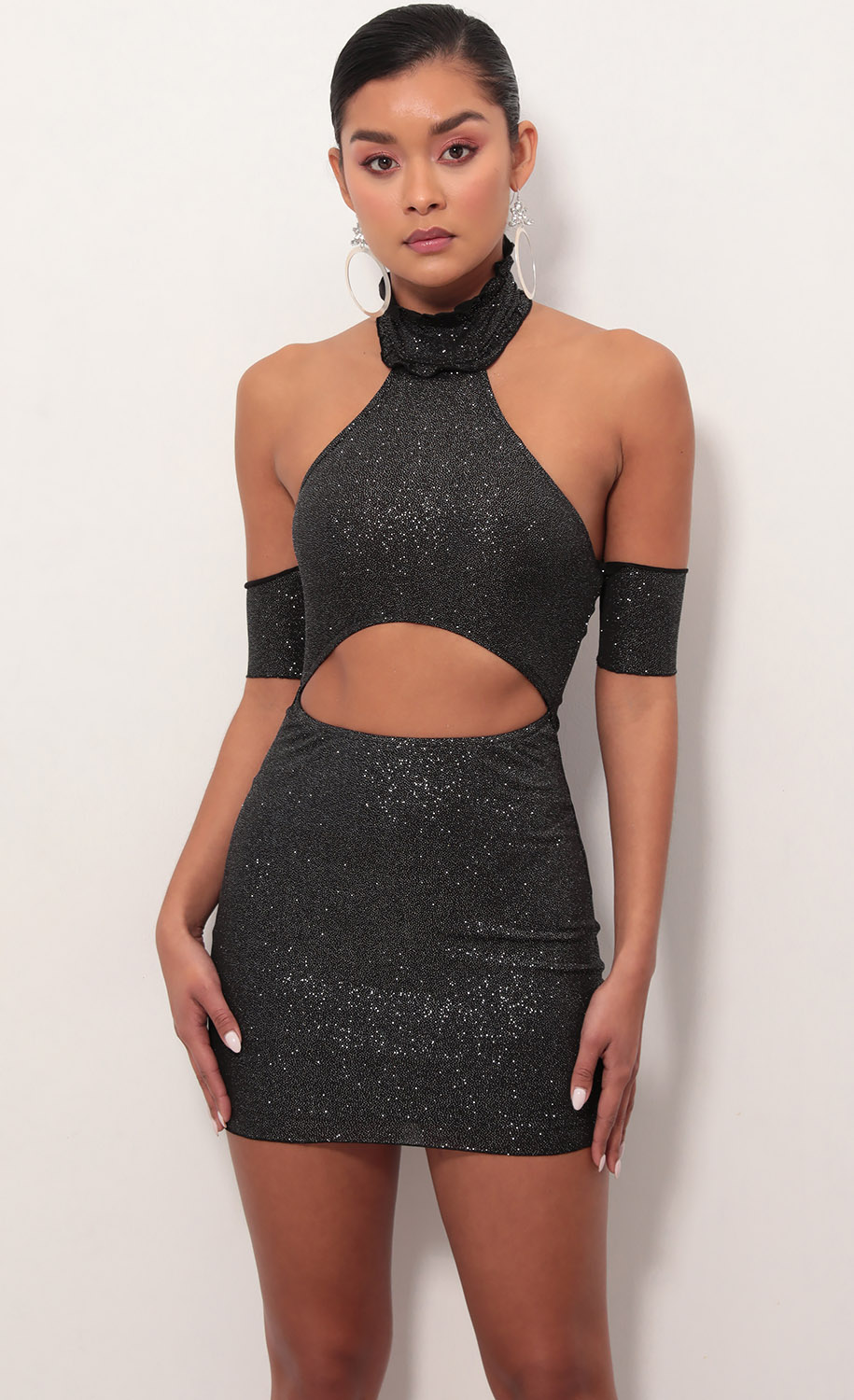 Elena Cut Out Dress In Black Shimmer