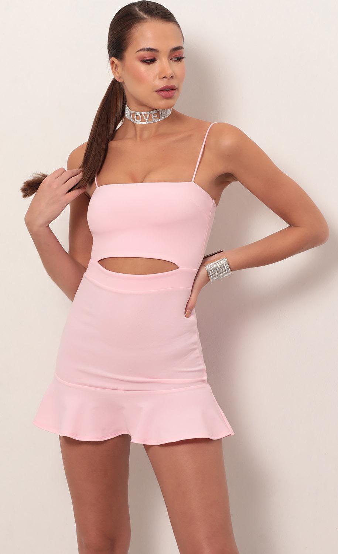 Reilly Cutout Ruffle Dress in Light Pink