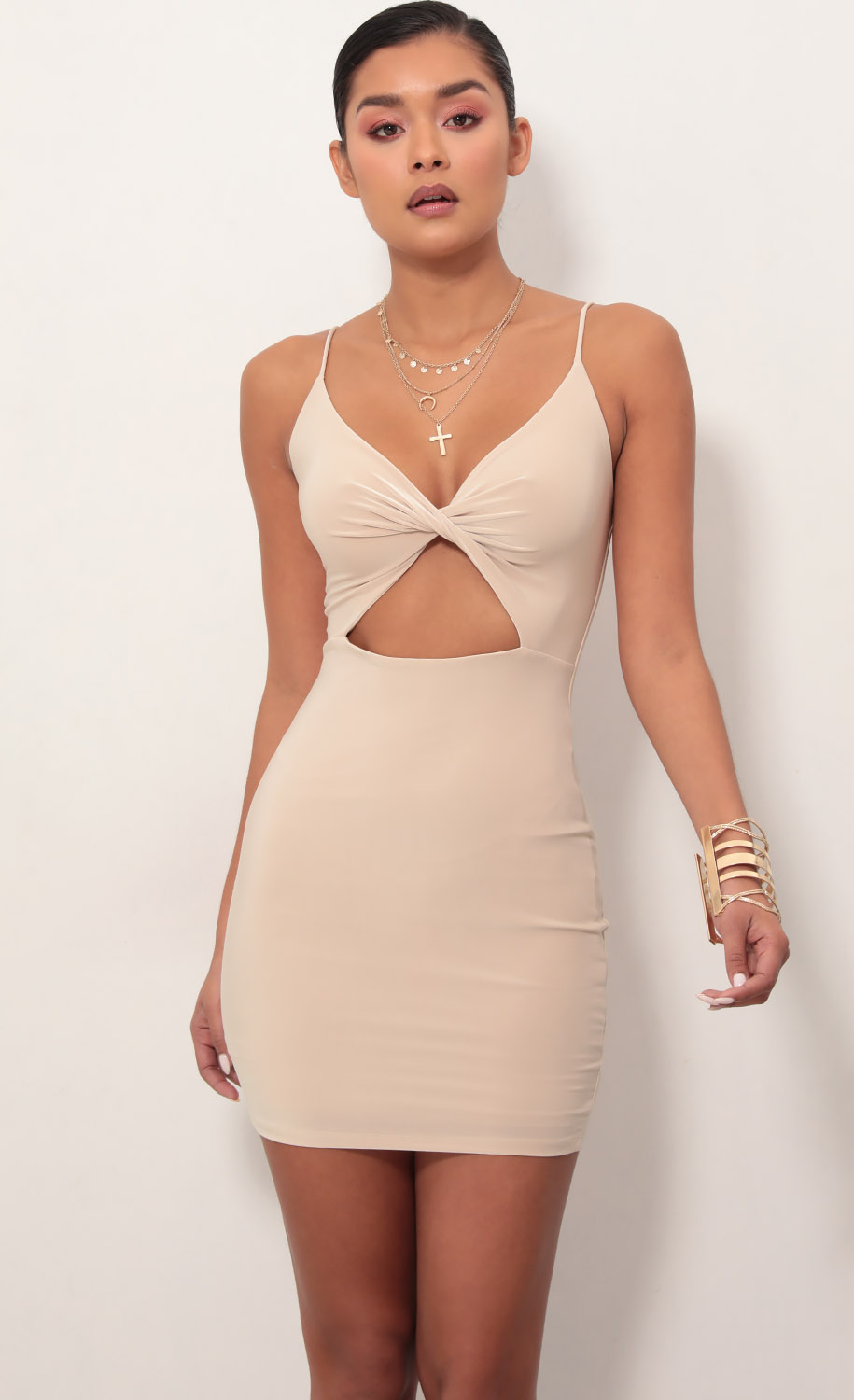 Scarlett Front Twist Bodycon Dress in Champagne