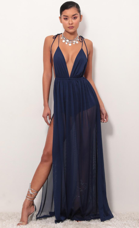 Skylar Love Ties Maxi Dress in Navy