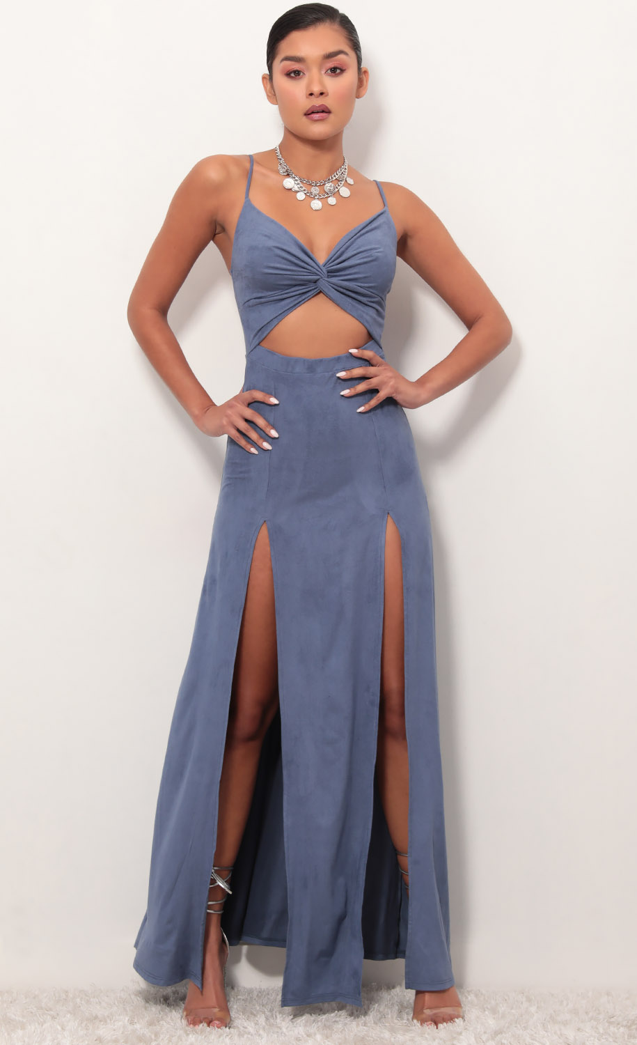 Moonlight Suede Maxi Dress in Palace Blue