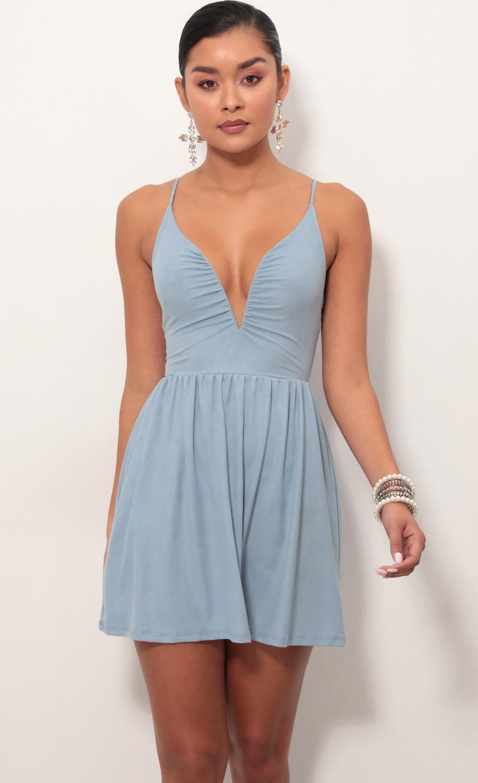 Low V Suede Plunge Dress In Blue
