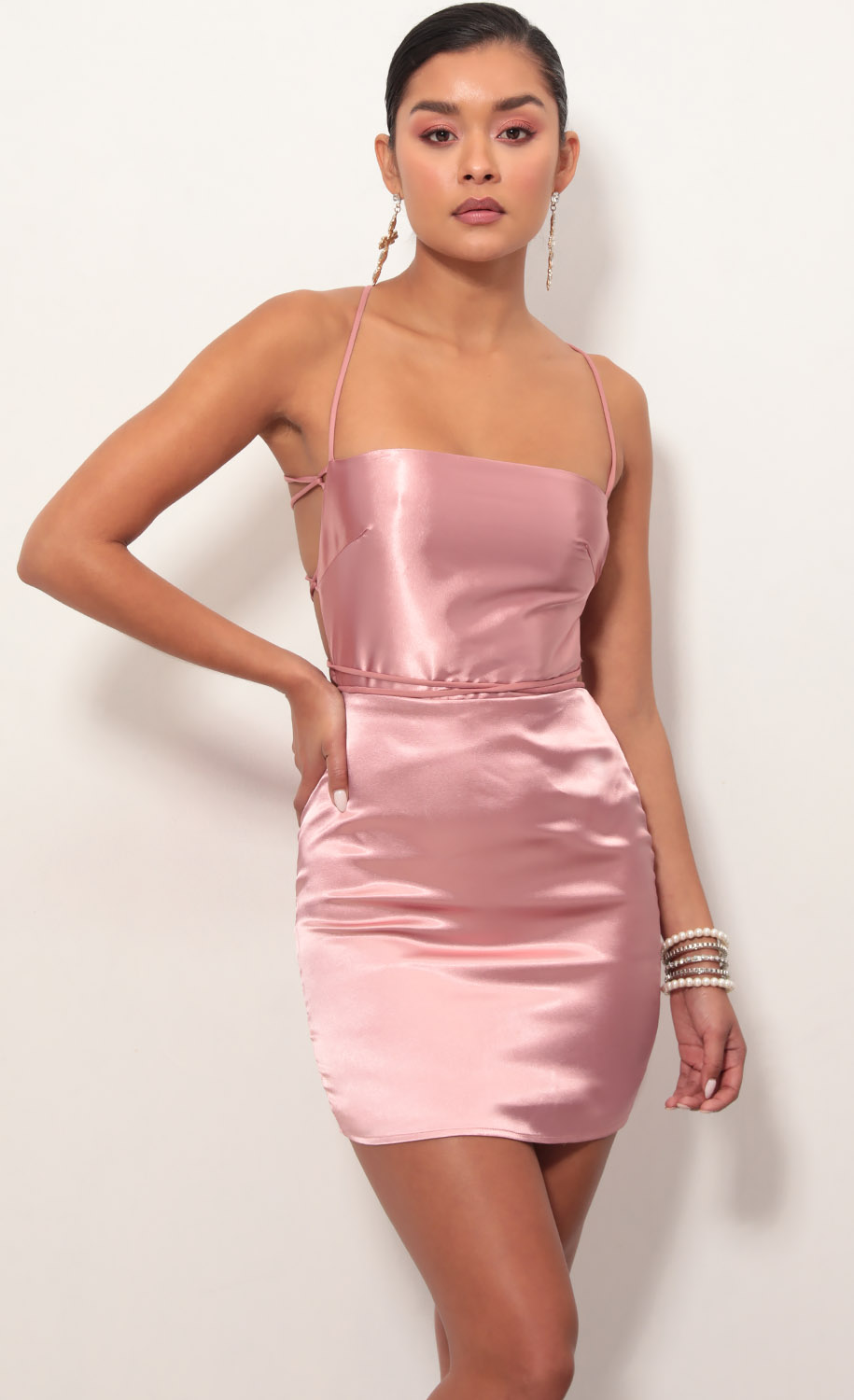 Lulu Satin Lace-up Dress in Mauve