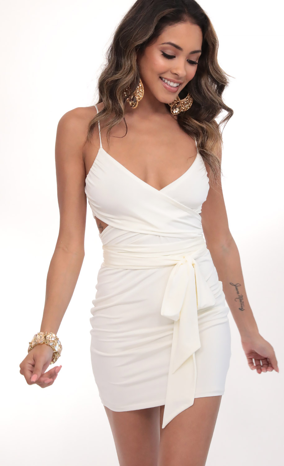 Leila Satin Wrap Tie Bodycon in White