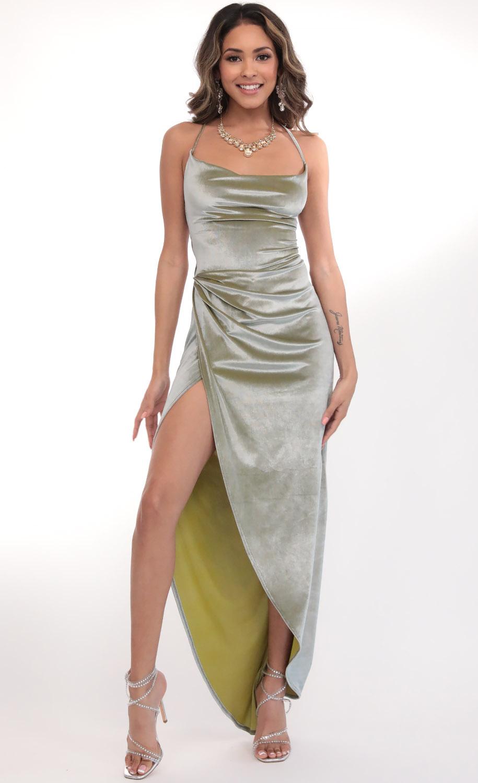 Velvet Luxe Maxi Dress in Green