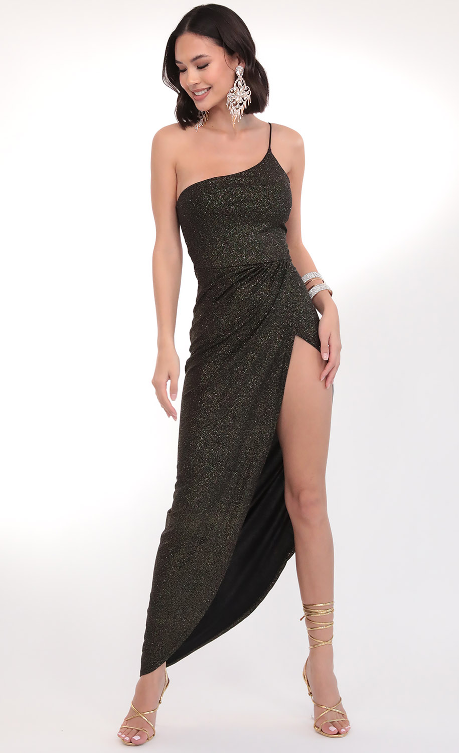 Milani Shoulder Maxi in Sparkling Black Gold