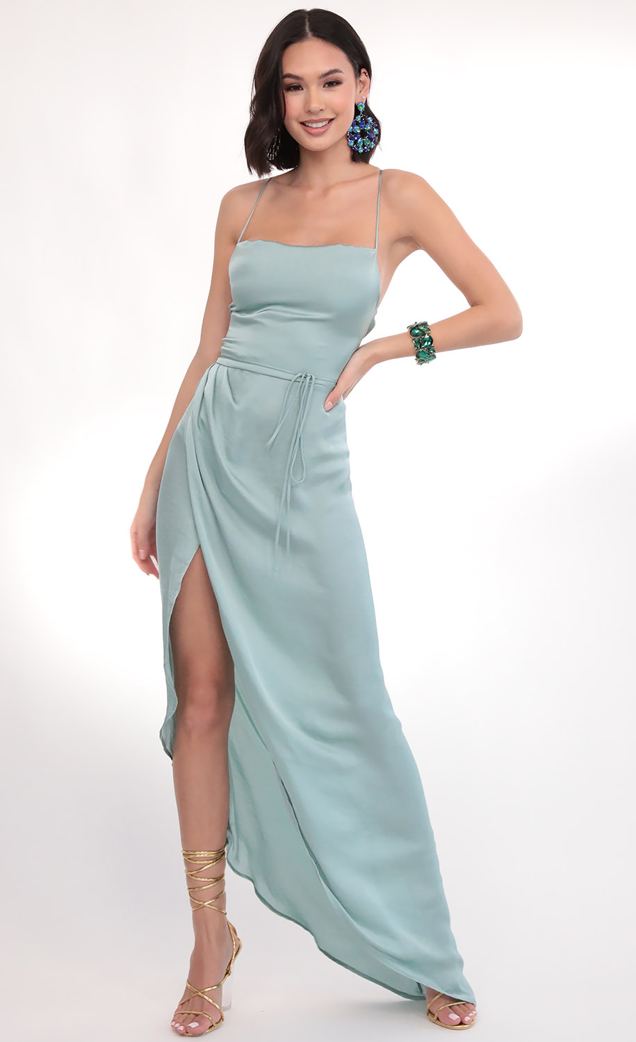 Ciara Satin Luxe Maxi in Sage Green