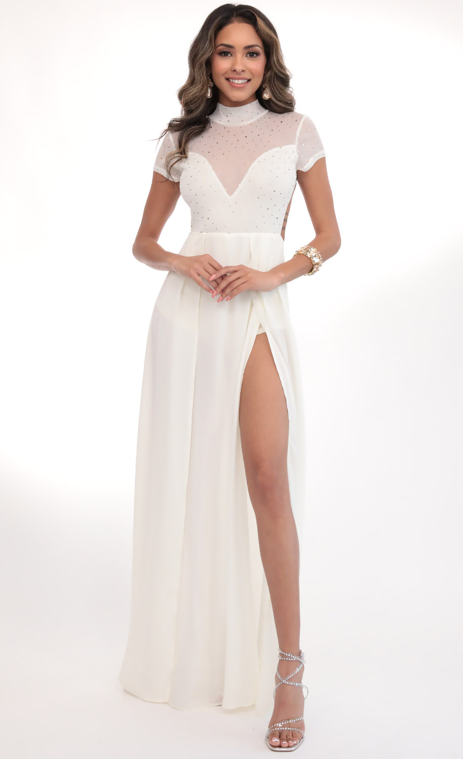 Couture Twinkling Mesh Maxi in Ivory Gold