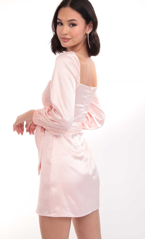Miley Puff Sleeve Wrap Dress in Blush