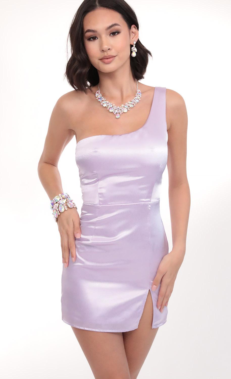 Liana Satin Shoulder Dress in Lilac