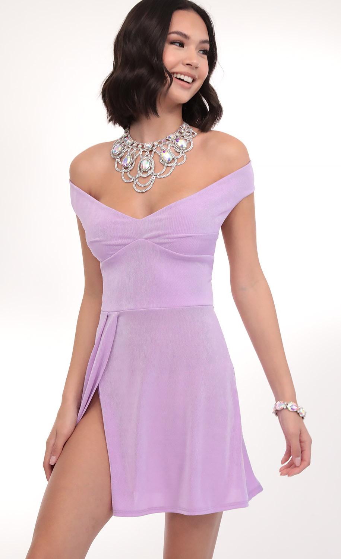 Dianna Off Shoulder Dress in Lilac