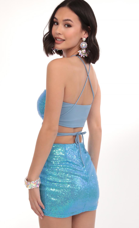 Eva Iridescent Sequin Set in Blue