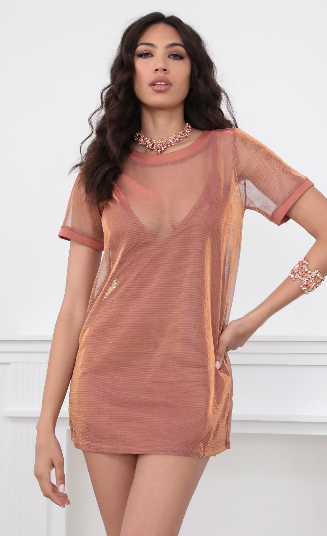 Sparkling Shift Dress in Rose Gold