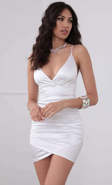 Holly Satin Cross-Back Dress In White