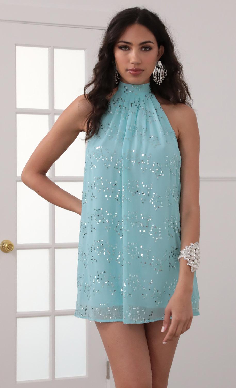 Midnight Halter Dress In Blue
