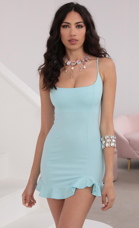 Monroe Ruffle Dress In Aqua Blue