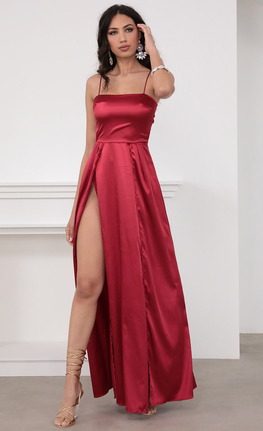 Gala Satin Maxi Dress in Red