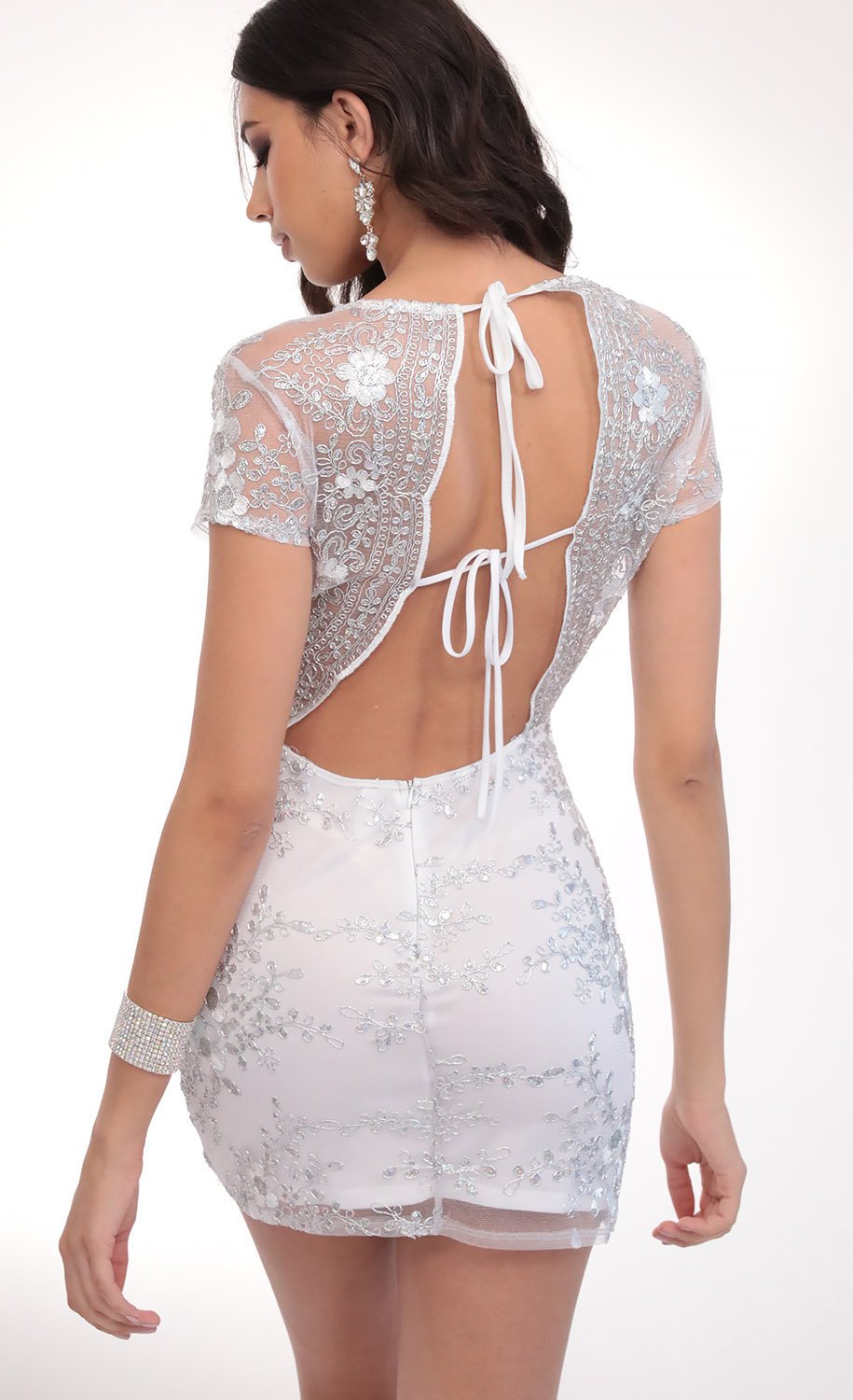 Lani Sequin Plunge Lace Dress in White