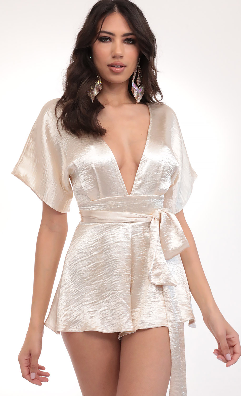 Feeling The Night Satin Romper in Creme Brulee