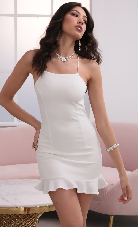 Gabby Halter Ruffle Dress in Ivory