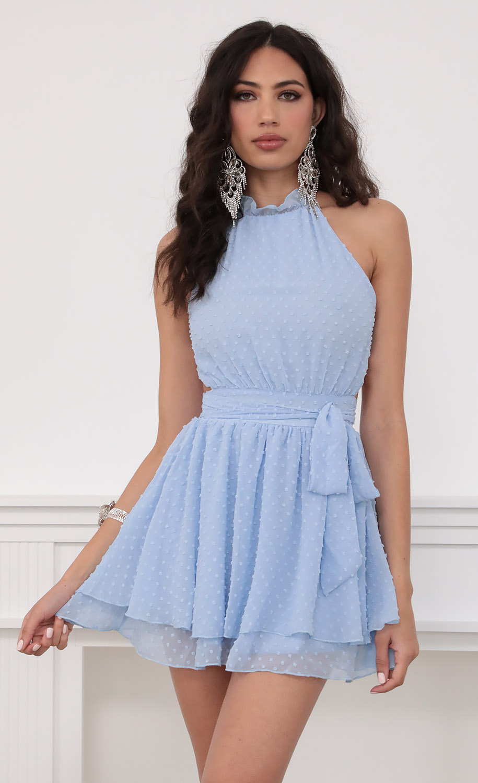 Sara Halter Chiffon Dress in Blue Dots