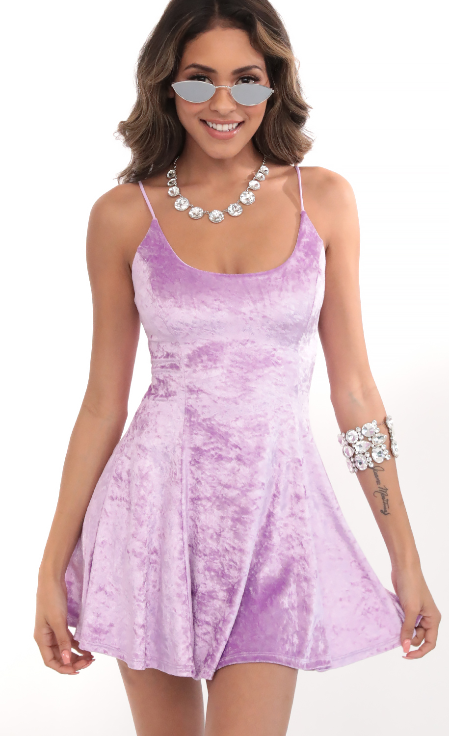 Crushed Velvet A-line Dress In Lilac