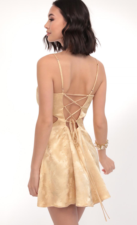 Alani Sparkling Jacquard Cutout Dress in Champagne
