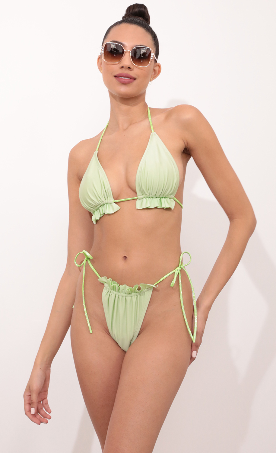 Aruba Frill Bikini Set in Lime Green