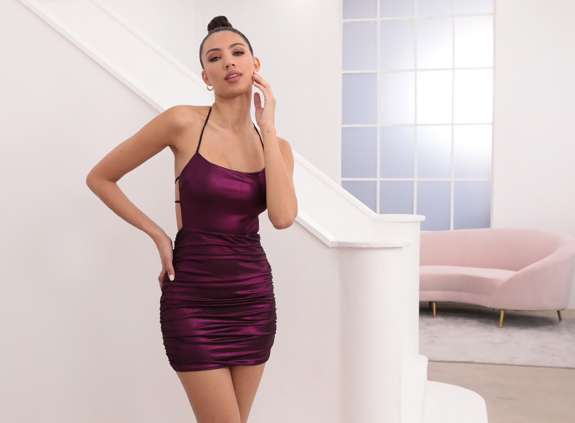Luminescence Mesh Dress in Metallic Fuchsia