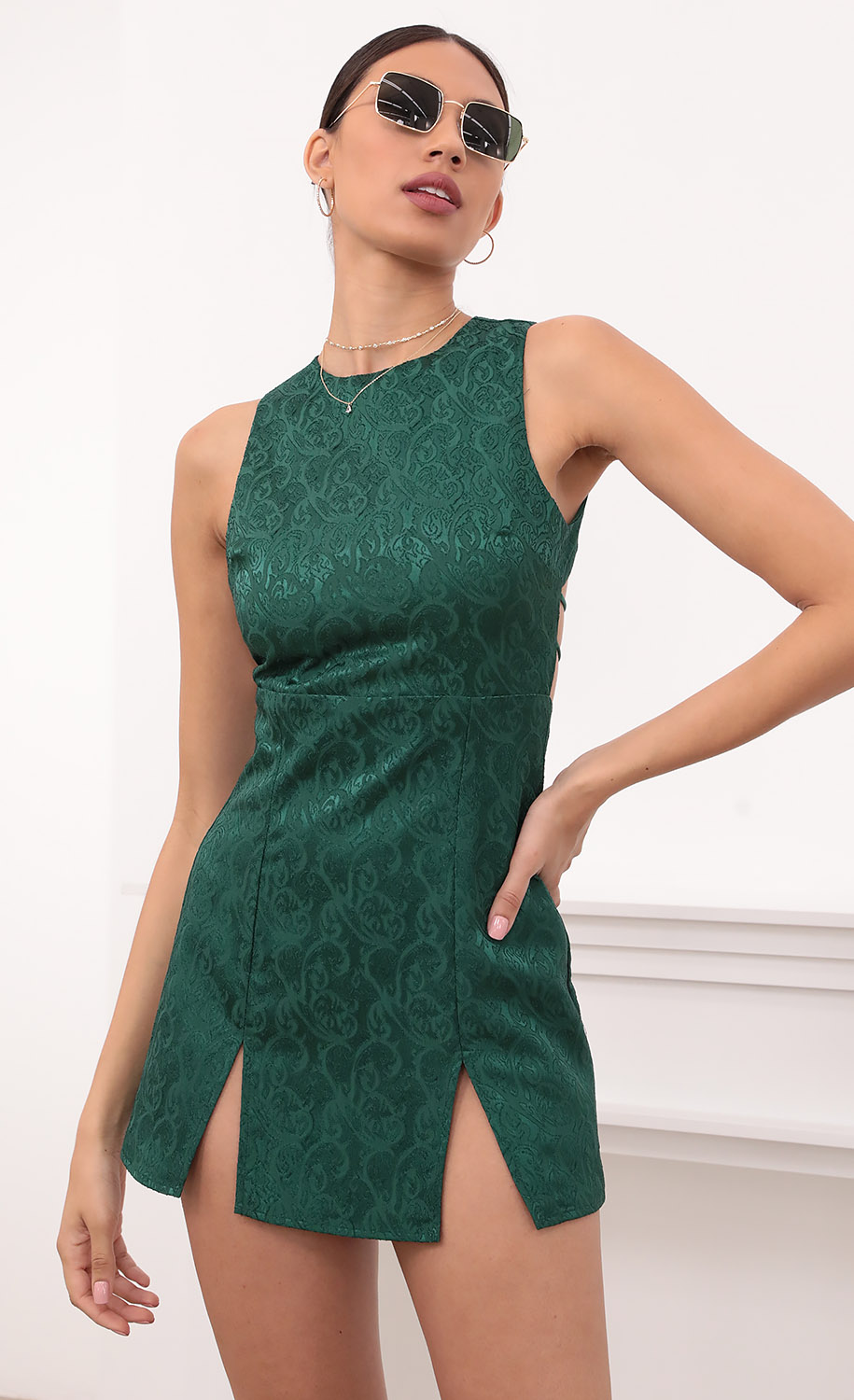 Violette Open Back Tank Dress in Green