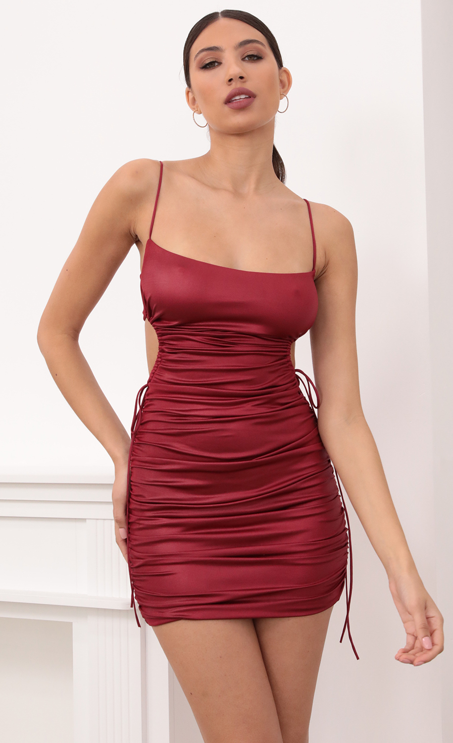 Valerie Cut Out Dress in Deep Red